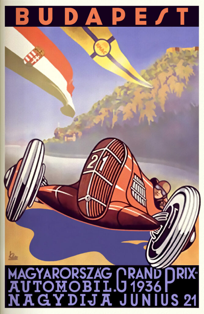 Poster GP van Hongarije in Nepliget Park